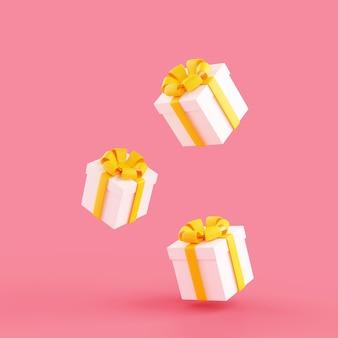 La caduta di scatole regalo 3d rende l'illustrazione. i pacchetti presenti avvolti in bianco con nastri gialli e fiocchi cadono su sfondo rosa per congratulazioni di compleanno o anniversario.