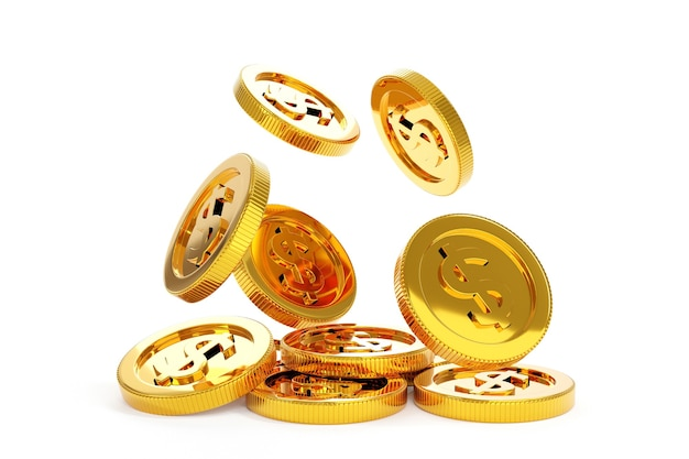 Soldi di monete d'oro che cadono, concetto di attività bancarie di affari. rendering 3d.