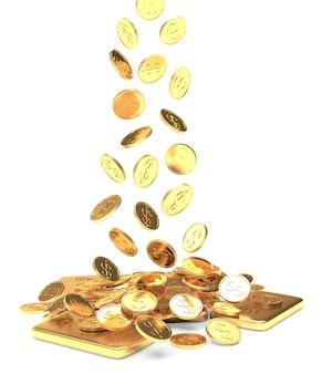 Monete d'oro che cadono sui lingotti