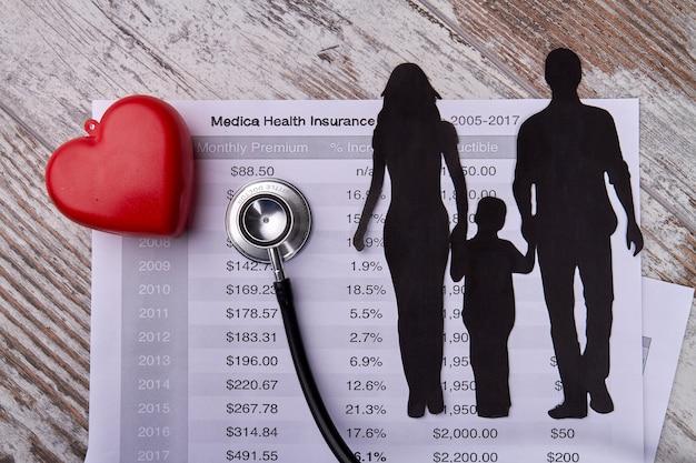Concetto di clinica di cardiologia familiare con silhouette familiare e stetoscopio