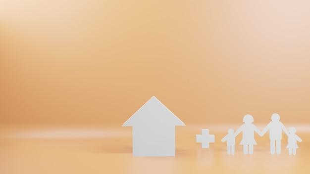 Taglio della famiglia e casa per il rendering 3d di sfondo
