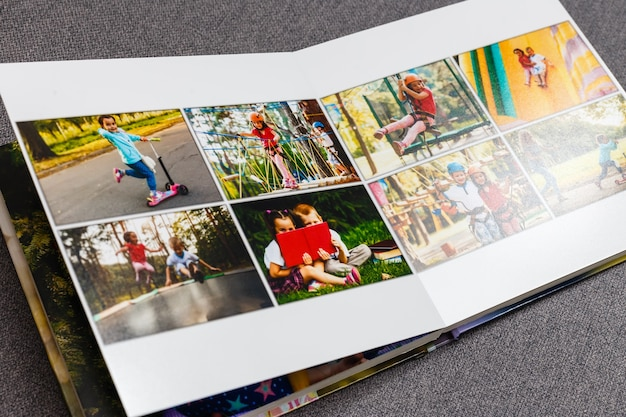 Album fotografico di famiglia, weekend estivo, fragole