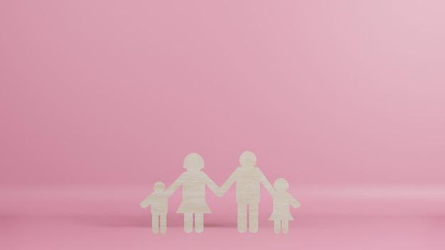 Famiglia legno tagliato per sfondo rendering 3d