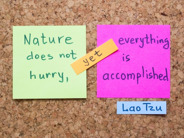 Famosa interpretazione della citazione di lao tzu con note adesive su tavola di sughero