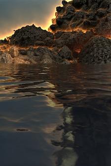 Fantastica immagine 3d di un vulcano prima dell'eruzione, sul lago, con il fuoco in uscita attraverso le faglie della montagna e il riflesso nell'acqua