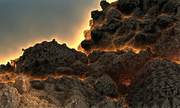 Fantastica immagine 3d di un vulcano prima di un'eruzione con fuoco che fuoriesce attraverso le faglie della montagna