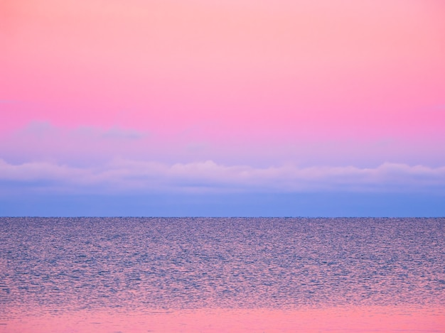 Fantastica vista sul mare minimalista di sera viola artico