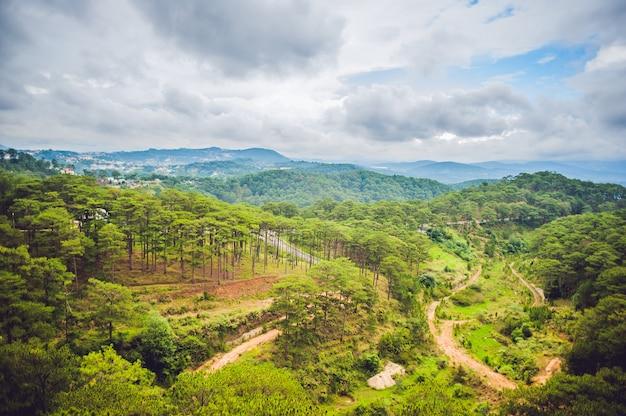 Fantastico paesaggio delle montagne di dalat, vietnam, atmosfera fresca, villa nella foresta, forma di collina e montagna dall'alto, meravigliosa vacanza per l'ecoturismo in primavera