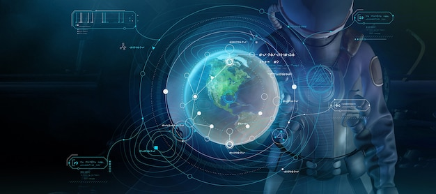 Fantastico poster con un uomo in tuta spaziale e infografica 3d render
