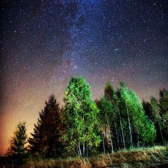 Fantastica pioggia di meteoriti invernali e le montagne innevate.