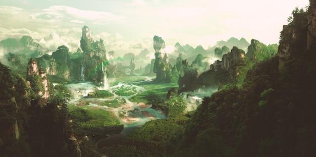 Ambiente naturale di fantasia, rendering 3d.