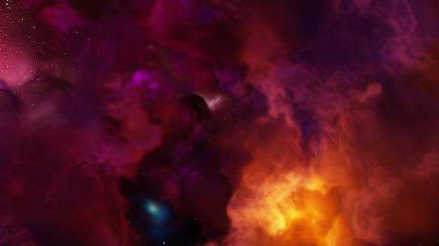 Universo di fantasia e sfondo dello spazio, rendering 3d
