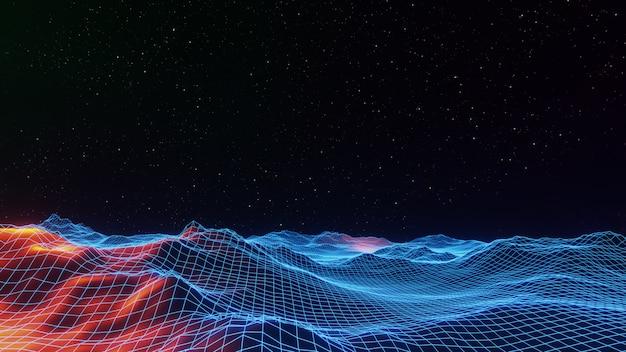 Spazio universo fantasy sfondo, illuminazione volumetrica. rendering 3d