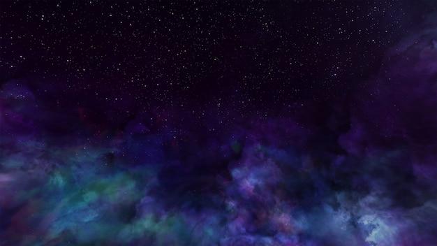Illuminazione volumetrica del fondo dello spazio dell'universo di fantasia