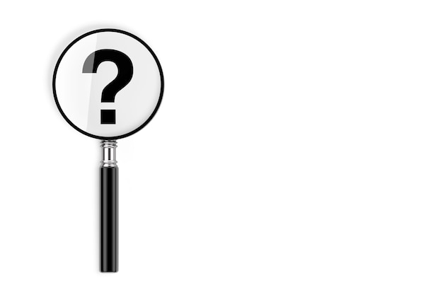 Concetto di domande frequenti. lente di ingrandimento con punto interrogativo su sfondo bianco. rendering 3d