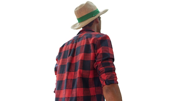 Uomo di colore agricoltore dalla parte posteriore che indossa il cappello isolato su sfondo bianco. spazio per il testo.