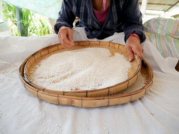 L'agricoltore seleziona l'impurità dal seme di riso al gelsomino del grano con il tradizionale processo manuale riso se