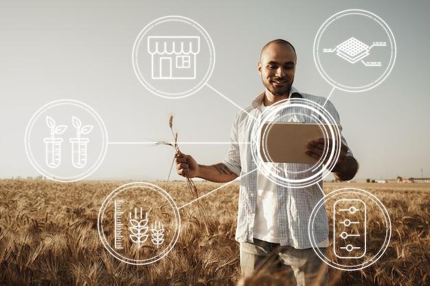 Agricoltore in piedi con tavoletta digitale in un campo di grano utilizzando moderne tecnologie in agricoltura
