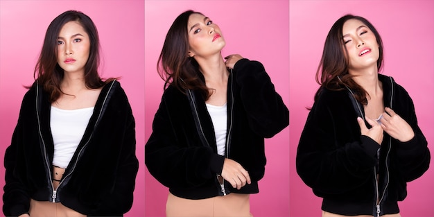 Moda anni '20 asian woman pelle abbronzata capelli castani neri bella alta moda trucco giacca di pelliccia casual. studio lighting sfondo rosa isolato, collage gruppo pack concept