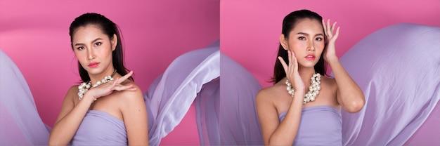 Moda anni '20 donna asiatica pelle abbronzata capelli castani neri belli alta moda trucco casual lancio di panno viola. studio lighting sfondo rosa isolato, collage gruppo pack concept