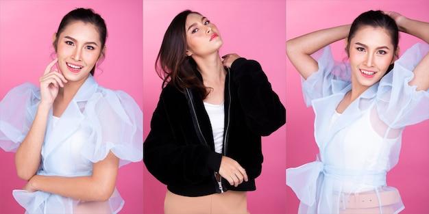 Moda donna asiatica anni '20 pelle abbronzata capelli castani neri bella alta moda trucco abito viola casual. studio lighting sfondo rosa isolato, collage gruppo pack concept