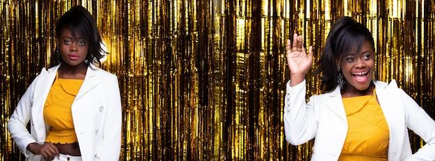 Giacca sportiva bianca felice del bello vestito giallo dai capelli neri della donna afroamericana di modo. studio lighting golden foil party background, gruppo collage pack di profilo molte pose concept