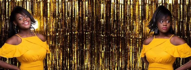 Sorriso felice dei capelli neri della donna afroamericana di modo bello vestito giallo. studio lighting golden foil party background, gruppo collage pack di profilo molte pose concept