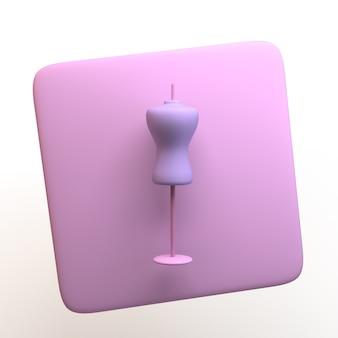 Icona della moda con manichino isolato su priorità bassa bianca. app. illustrazione 3d.