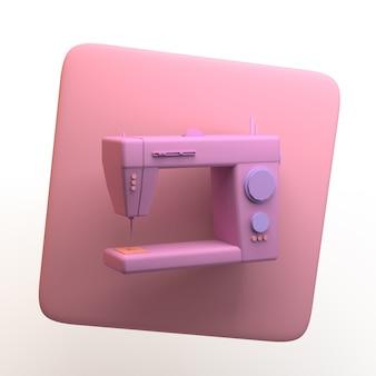 Icona della moda con macchina da cucire isolata su priorità bassa bianca. app. illustrazione 3d.
