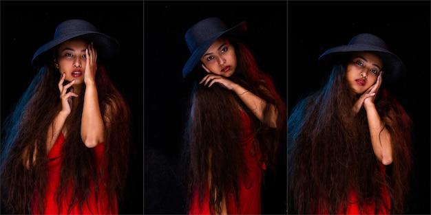 Moda giovane pelle abbronzata ragazza asiatica capelli lunghi ricci rosso labbro e vestito indossano blu scuro scuro cappello posa braccio e mano stile ritratto. studio lighting sfondo nero, concetto di pacchetto collage di gruppo