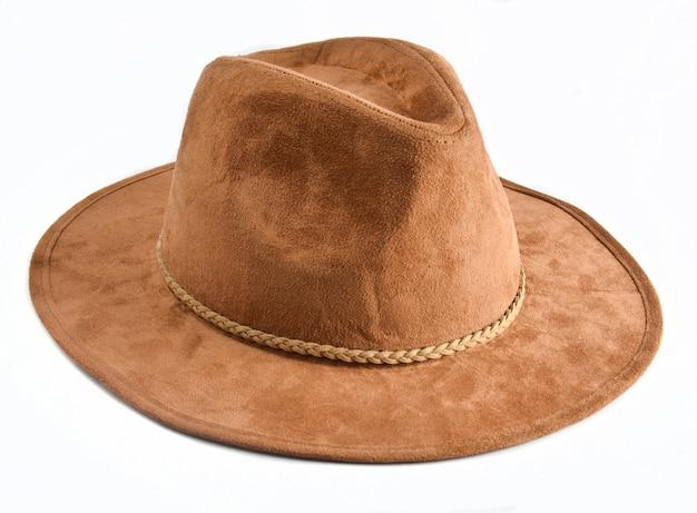 Cappello di feltro femminile alla moda isolato. cappelli autunnali di primavera