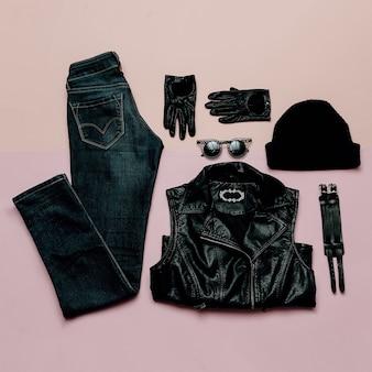 Abbigliamento hipster alla moda. vista dall'alto. stile ogni giorno. tendenza primavera moda nera