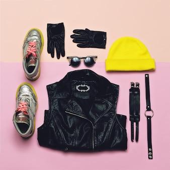 Abbigliamento hipster alla moda. vista dall'alto. stile ogni giorno. bright beanie scarpe alla moda accessori outfit urbano