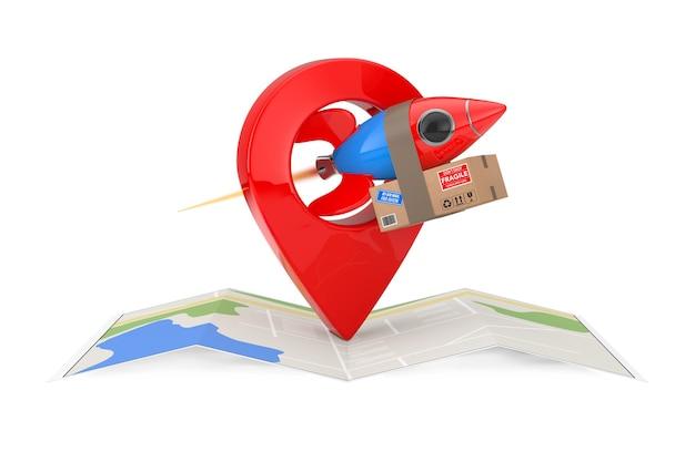 Concetto di consegna veloce. razzo divertente con scatola di pacchi, mappa di navigazione astratta piegata e perno puntatore mappa su sfondo bianco. rendering 3d