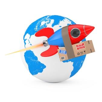 Concetto di consegna veloce. razzo divertente con scatola di pacchi davanti al globo terrestre su sfondo bianco. rendering 3d