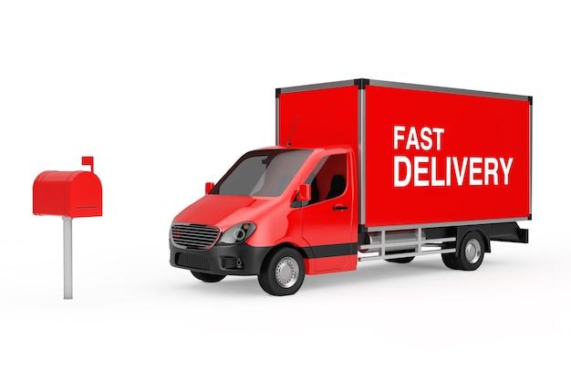 Concetto di consegna veloce. camion furgone di consegna del carico industriale commerciale rosso con il segno di consegna veloce vicino alla casella di posta rossa su un fondo bianco. rendering 3d