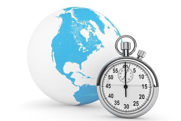 Concetto di consegna veloce. cronometro con globo su sfondo bianco