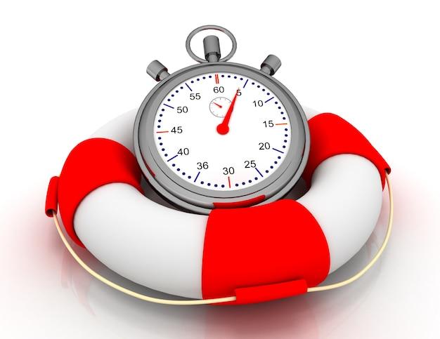 Primo concetto di aiuto veloce. cronometro nel salvagente