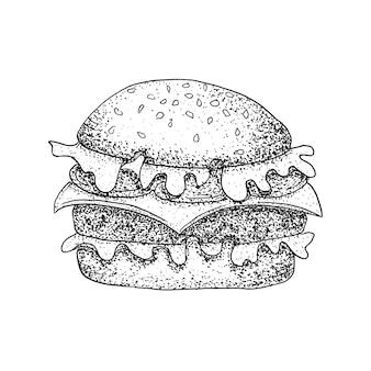 Fast food burger dotwork. illustrazione raster di hamburger. schizzo disegnato a mano.