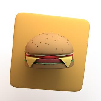 Icona di fast food con hamburger isolato su priorità bassa bianca. app. illustrazione 3d.