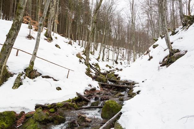 Un veloce ruscello di montagna che scorre tra due pendii innevati.