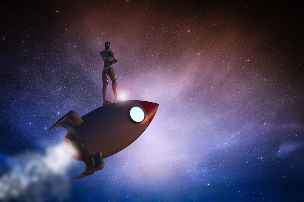 Concetto di tecnologia ad alta velocità con robot che guida lo space shuttle