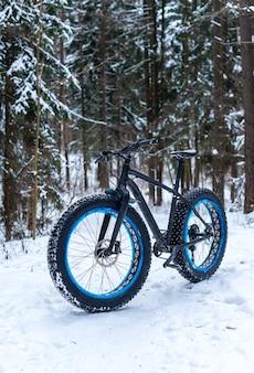 Fatbike nella foresta invernale