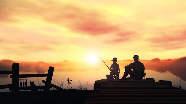 Padre e figlio al mattino pesca