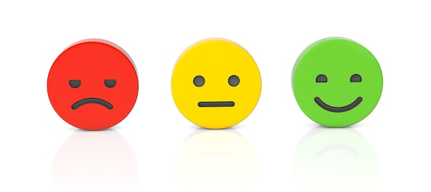 Feedback positivo neutro feedback negativo una faccia con un sorriso ordinario e arrabbiato isolato