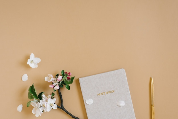 Composizione di blog femminile con penna per taccuino e fiori di mela bianca su sfondo beige