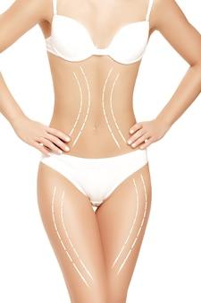 Corpo femminile con le frecce di disegno su di esso isolato su bianco