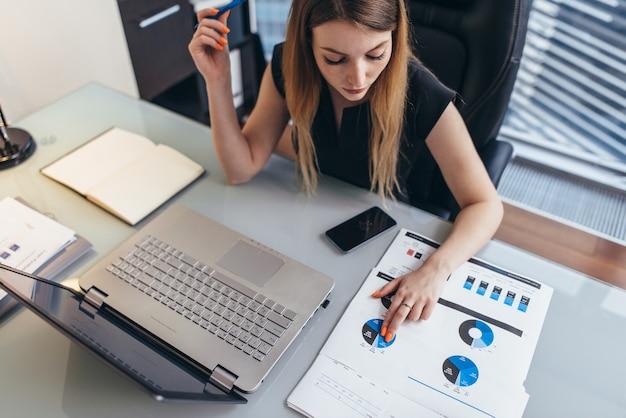 Donna d'affari che legge un rapporto finanziario analizzando le statistiche che puntano al grafico a torta che lavora alla sua scrivania.