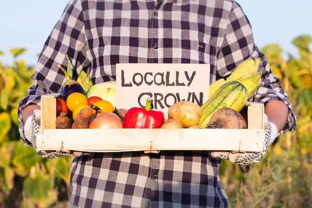 Contenitore femminile della tenuta del coltivatore pieno di verdure organiche naturali. donna con verdure fresche e segno
