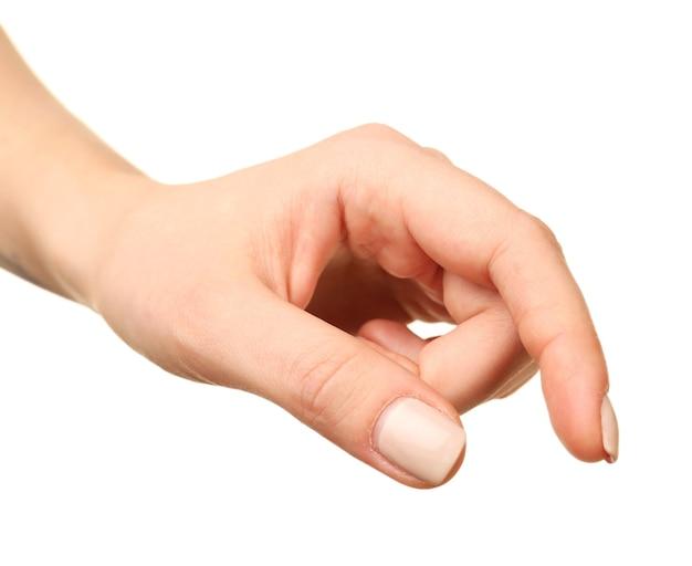 Gesto della mano femminile isolato su bianco